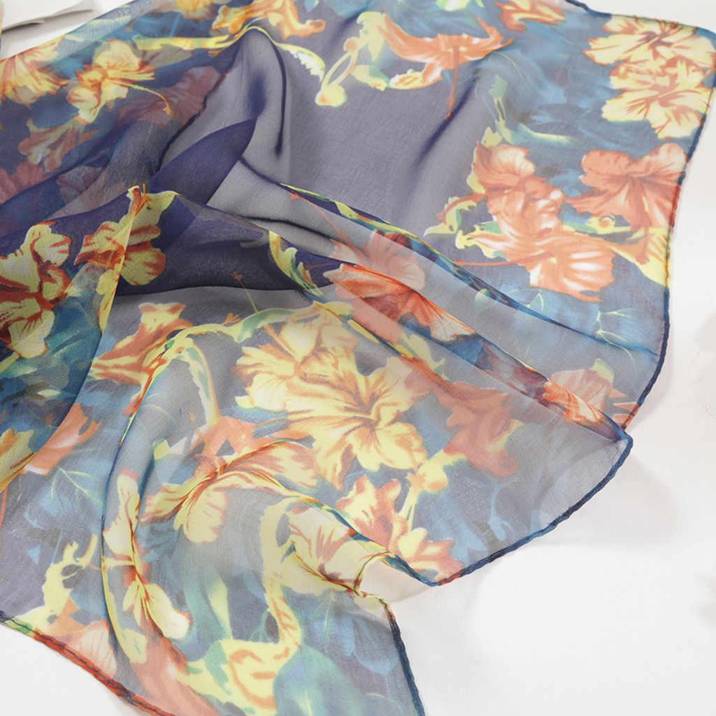 אופנה נשים קטן דייזי הדפסת צעיף חוף סגנון ארוך רך גלישת צעיף סימולציה משי צעיף צעיף Femme חיג 'אב מוסלין # ש