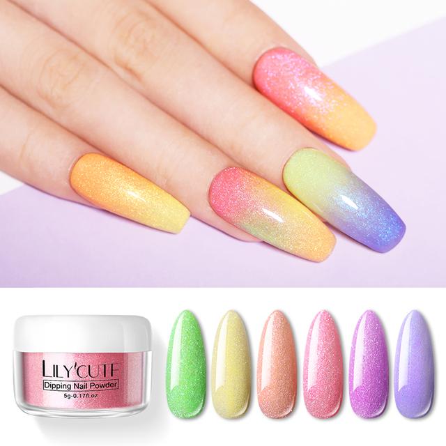 LILYCUTE 8Pcs/set Dipping Nail Glitter Powder