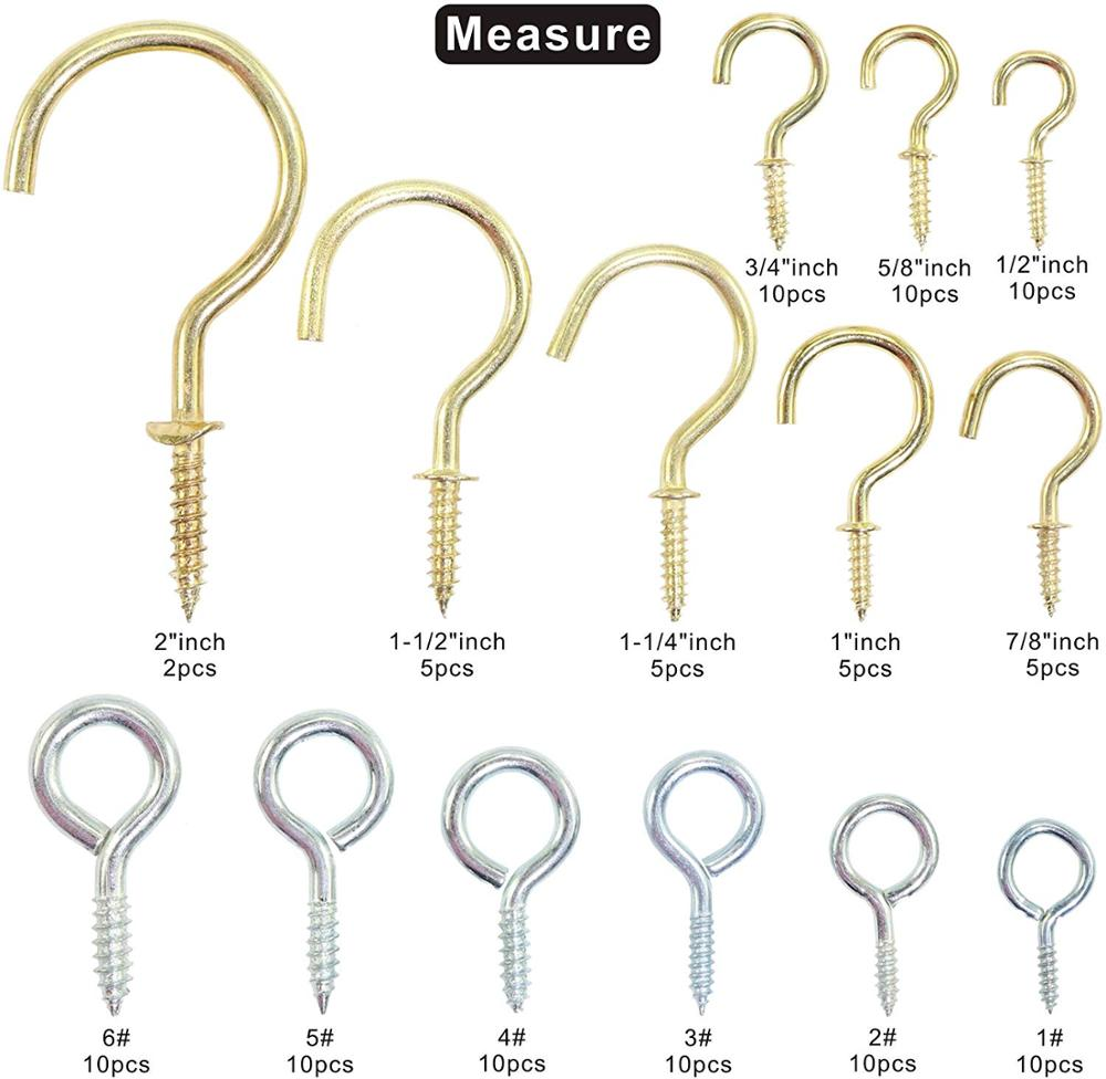IZTOSS Eye Bolts Screw Hooks And Brass Plated Ceiling Screw Cup Hooks Hangers, Assortment 15 Sizes, 112 Pieces