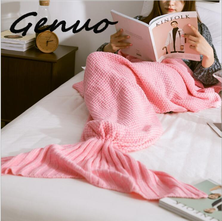 Genuo 2019 New Knitted Mermaid Tail Handmade Crochet Super Soft Mermaid Blanket Fish Scale Knitted Cashmere TV Sofa Skirt