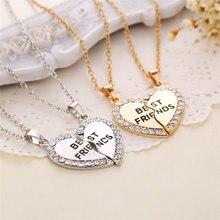 Unissex 2 pcs bff colar feminino coração de cristal pingente melhor amigo carta colar moda casal colar masculino amizade jóias