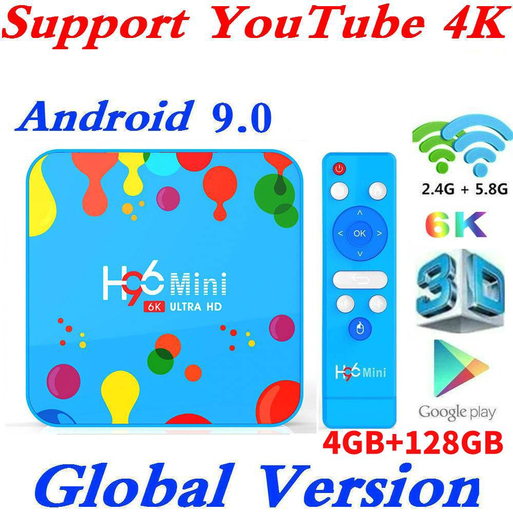 Nuevo 4GB RAM 128GB ROM H96Mini Android 9,0 TV Box Allwinner H6 QuadCore Dual Wifi 32G MAX 6K reproductor multimedia inteligente H96 Mini PK T95Q
