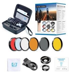Image 5 - Kits de lentilles à filtre complet APEXEL 52mm 9in1 0,45x de large + objectif macro 15x 7in1 filtre de couleur rouge bleu + filtre étoile CPL ND pour téléphones
