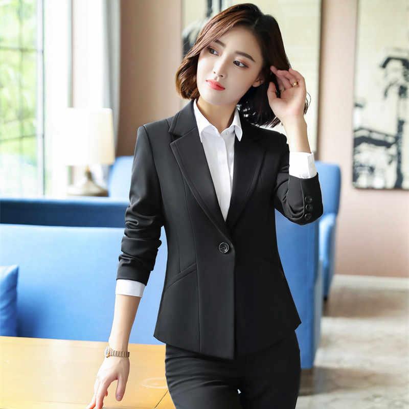 Black Formal Elegant Women's 2 Piece Set Pants Suits Blazer Jacket Office  Lady Work Business Uniform Trousers Clothing|Pant Suits| - AliExpress