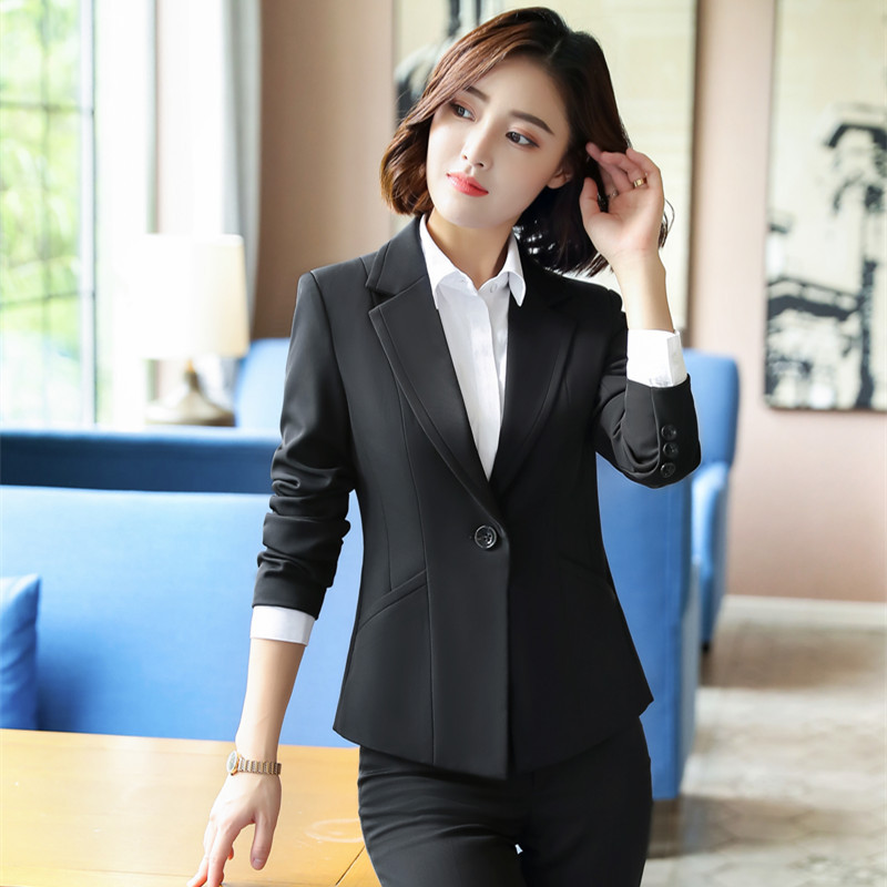 Black Formal Elegant Women's 2 Piece Set Pants Suits Blazer Jacket Office Lady Work Business Uniform Trousers Clothing