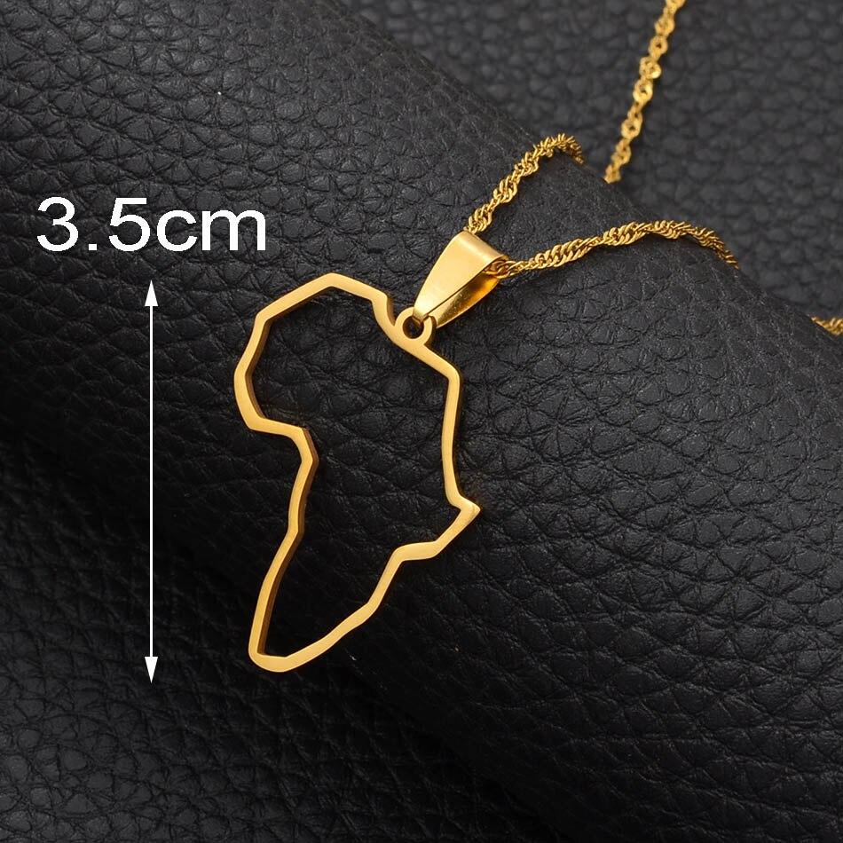 Anniyo Африка профиль карта кулон ожерелья серебро/золото цвет карты Африки Ювелирные изделия Эфиопский нигерийский Гана Конго этнические#113521 - Окраска металла: Gold Color