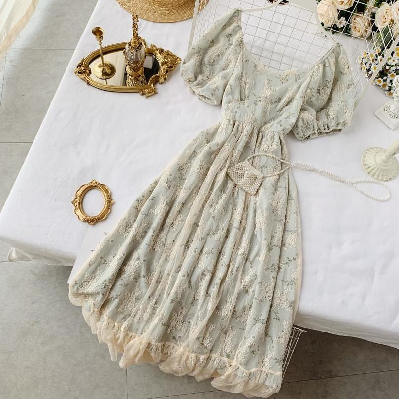 Taotrees Summer Square Collar Floral Short Sleeve Lace High Waist Dress