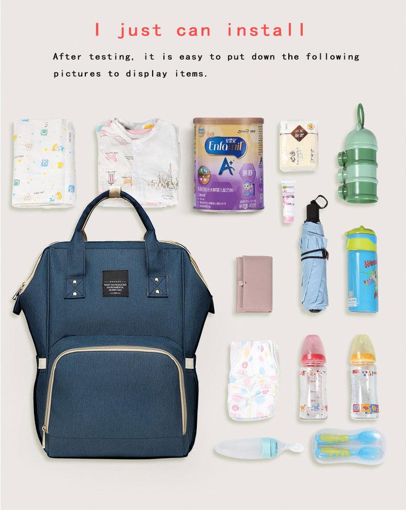 Hc2e0b95476cd4f53a782409e8edc7b92u Fashion Mummy Maternity Nappy Bag Waterproof Diaper Bag With USB Stroller Travel Backpack Multi-pocket Nursing Bag for Baby Care