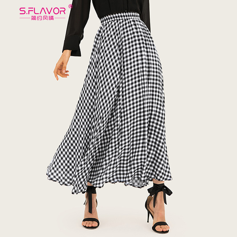 S.FLAVOR 2020 New Fashion Plaid Long Skirt Women Spring Summer ...