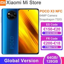 W magazynie wersja globalna Xiaomi POCO X3 NFC Smartphone 64GB 128GB Snapdragon 732G Octa Core 64MP 5160mAh bateria 33W szybkie ładowanie tanie tanio Niewymienna CN (pochodzenie) Android Zamontowane z boku ≈64MP Quick Charge 4 0 english Rosyjski Niemieckie French Spanish