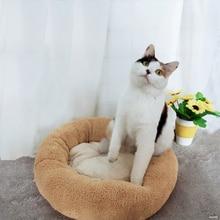 Rotondo Gatto di Casa Letto di Corallo Morbido velluto Pet Base Del Cane Per I Cani Cesto di Prodotti Per Animali Domestici Cuscino Domestico del Gatto Letto Zerbino Gatto casa Animali Divano