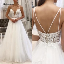 Robe Vintage Bohemian Dress 2020 White Tulle Beach Wedding Dress Spaghetti Straps Sheer Illusion Sexy New Mariage Bridal Gowns