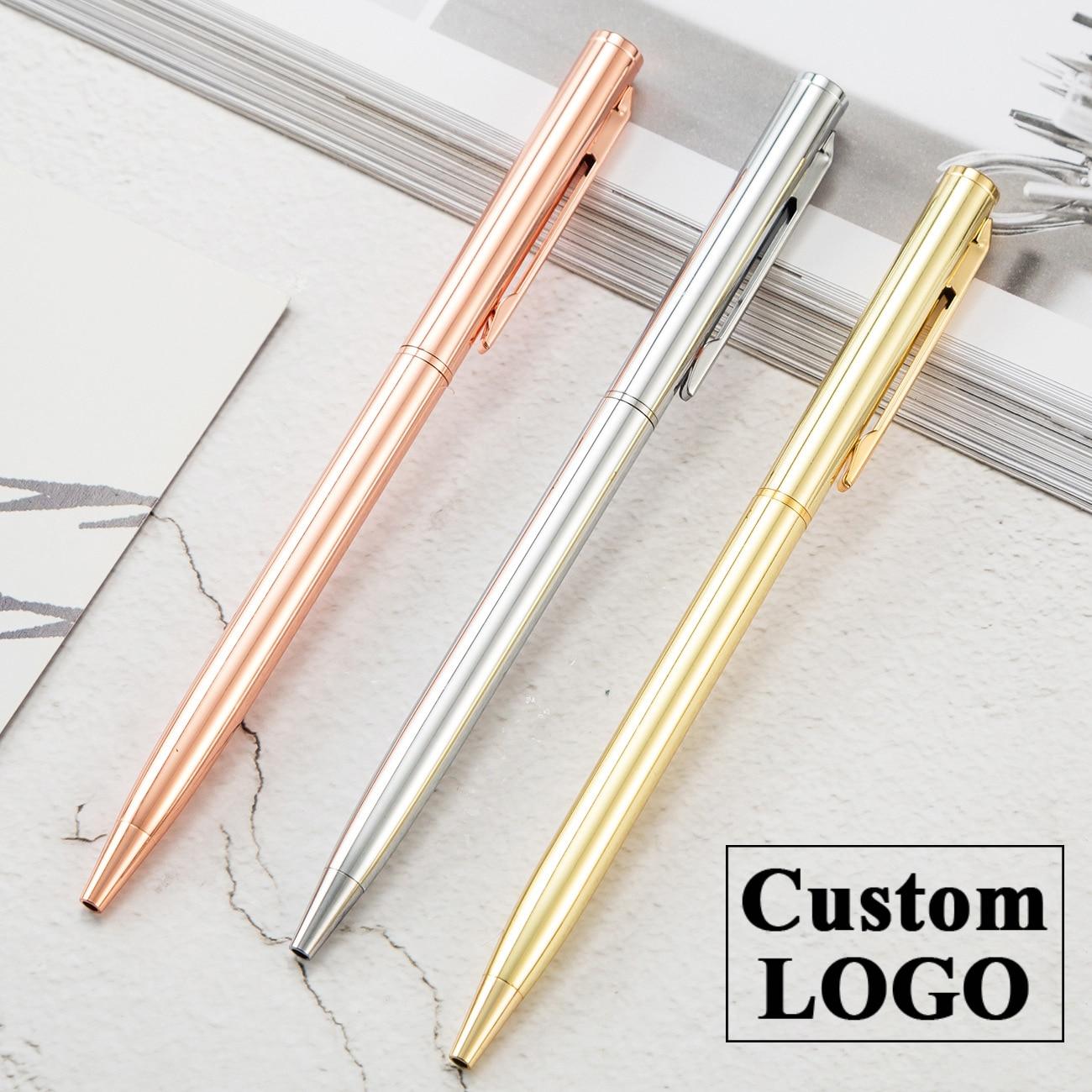 Luxury Rose Gold Pen Metal Ballpoint Pen Custom Logo Advertising Ballpoint Pen School&office Supplies Lettering Engraved Name