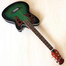 Estoque 38 polegada volta redonda guitarra acústica elétrica basswood topo de alto brilho 6 cordas guitarra folk com pequenas falhas