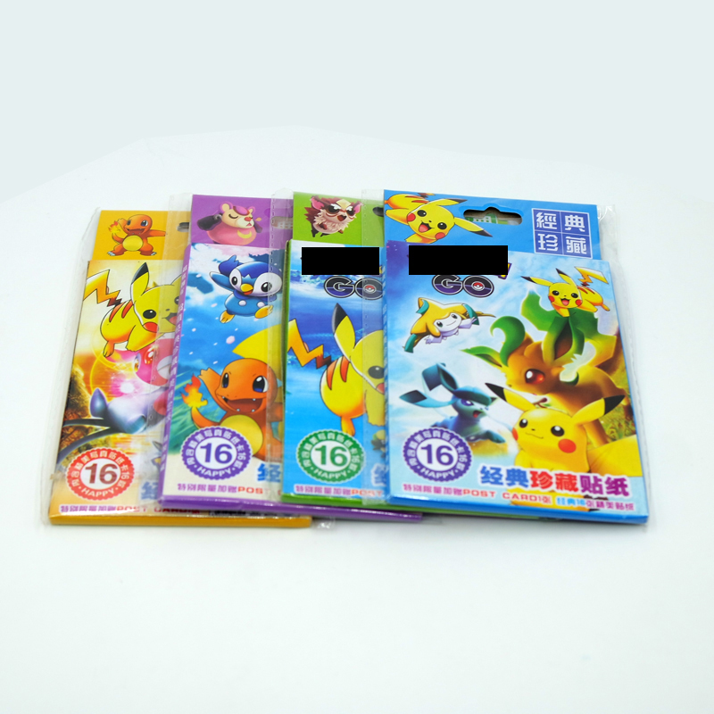 16-page Stickers Pokemon Pet Elf Pocket Monster Magic Pikachu Cartoon Stickers Sticker