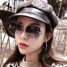 Женские солнцезащитные очки без оправы, Винтажные Солнцезащитные очки без оправы, стиль лето, 2020