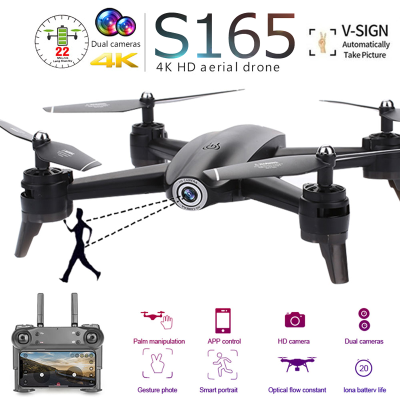 S165 Professional Foldable Drone With Dual Camera 4K HD WiFi FPV Wide Angle Optical Flow RC Quadcopter Helicopter Toys VS SG106