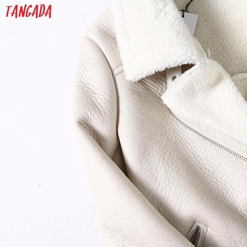 Hc2e18750144f4aadb9baa4c2458085b4R Tangada Women beige fur faux leather jacket coat with belt turn down collar Ladies 2019 Winter Thick Warm Oversized Coat 5B01