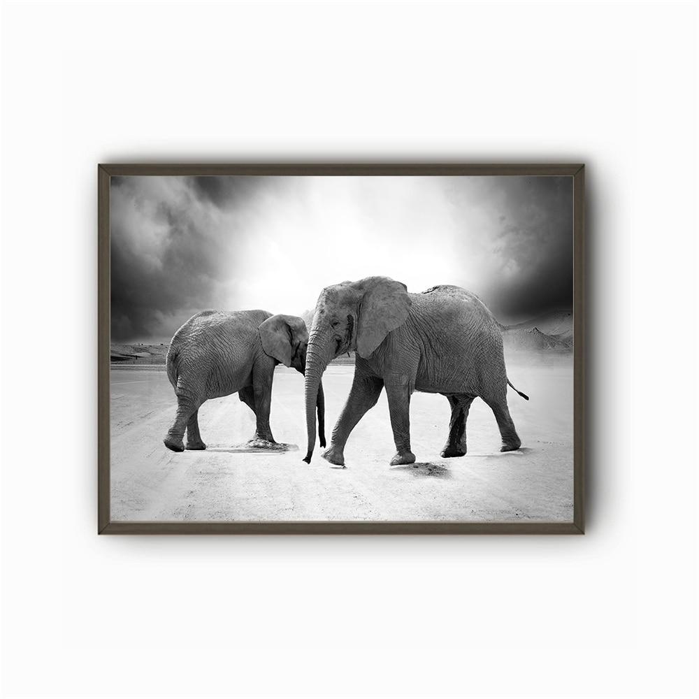 €6.4 |Grande taille impression peinture à l\'huile animaux noir et blanc  peinture murale décor mur Art photo pour salon peinture pas de cadre-in ...