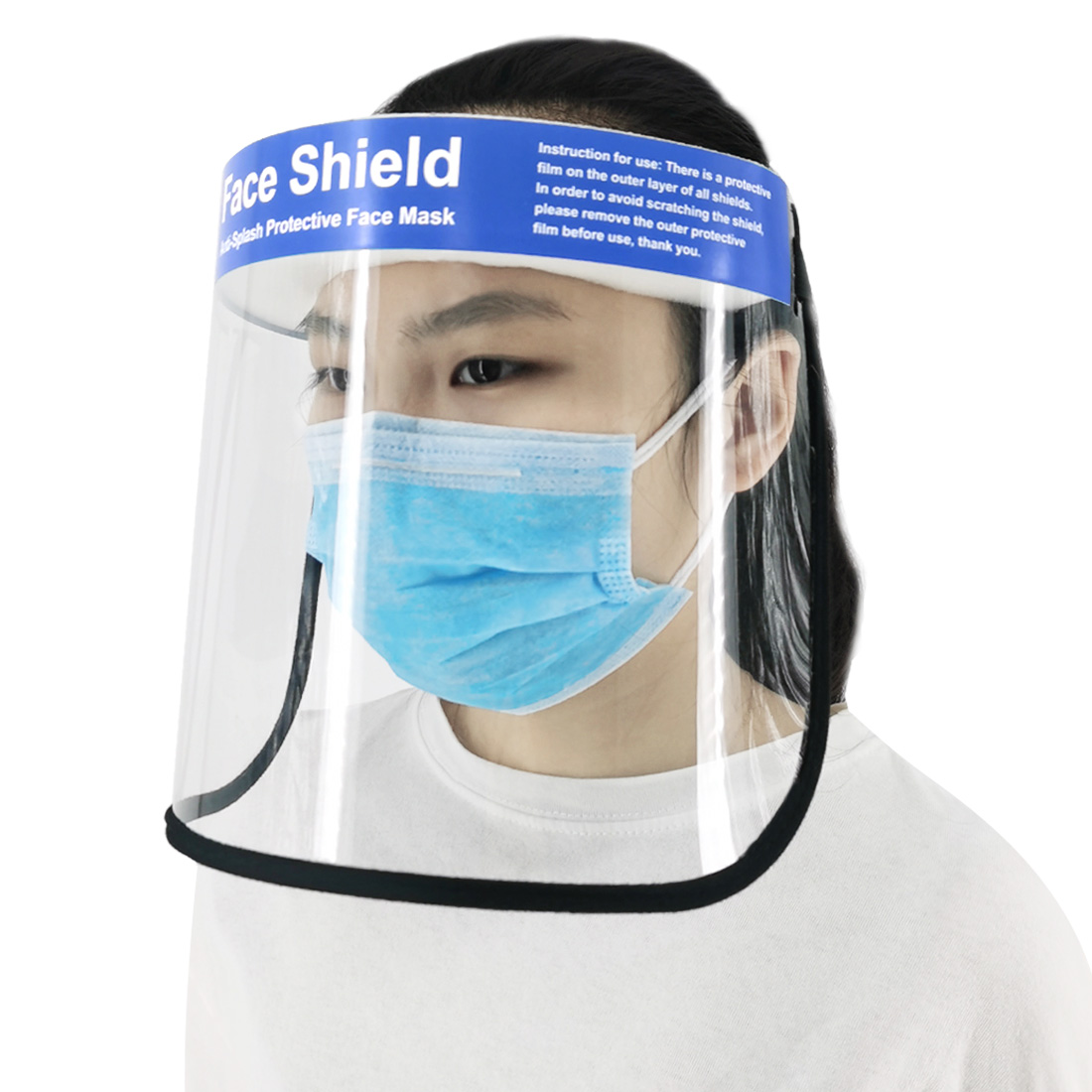 A Adjustable Anti Droplet Dust-proof Full Face Protective Visor Face Shield Transparent PVC Face Cover Caps