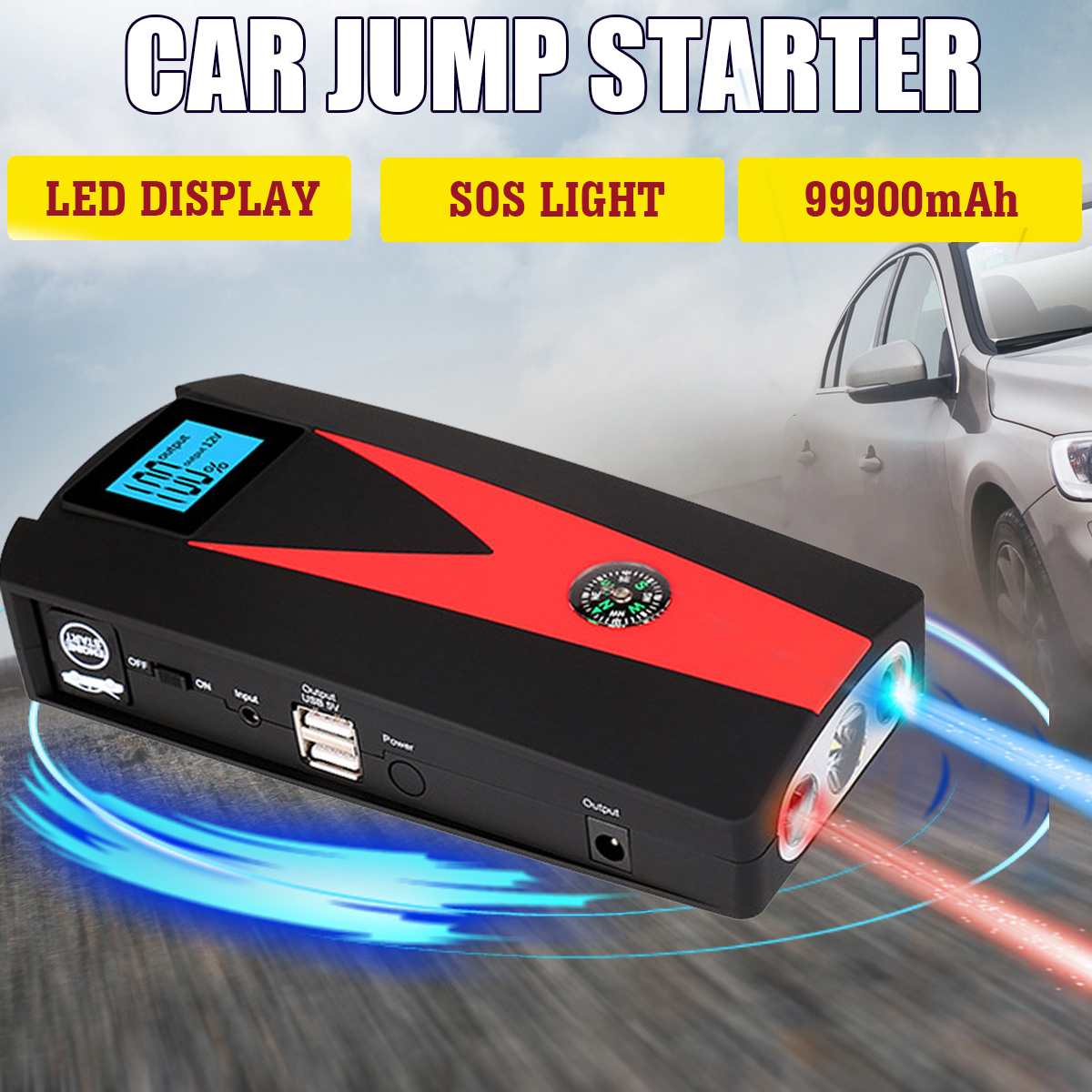 Portable 99900mAh 12V Car Jump Starter Booster Battery Charger USB Charger Emergency Powers Bank Car LED For Starting Device