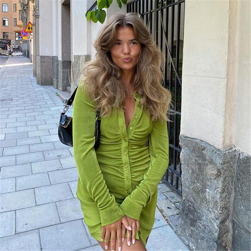 FANTOYE Pleated Turn Down Collar Button Blouse Dress Women Sexy Long Sleeve Mini Dresses Solid Streetwear Female Shirt Vestidos