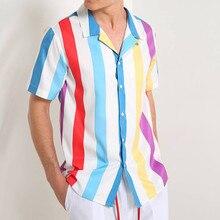 Мужская рубашка в полоску с коротким рукавом и пуговицами для походов, Мужская блузка, удобные летние топы, мужские летние рубашки для гольфа