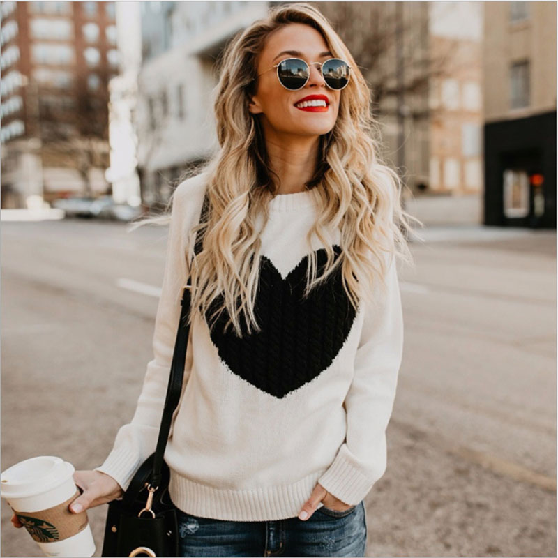Diwish Sweaters 2019 Newest Winter Autumn Ladies' Tops O-Neck Knitted Sweet Heart Sweaters Pullovers Long Sleeve Sweater Women
