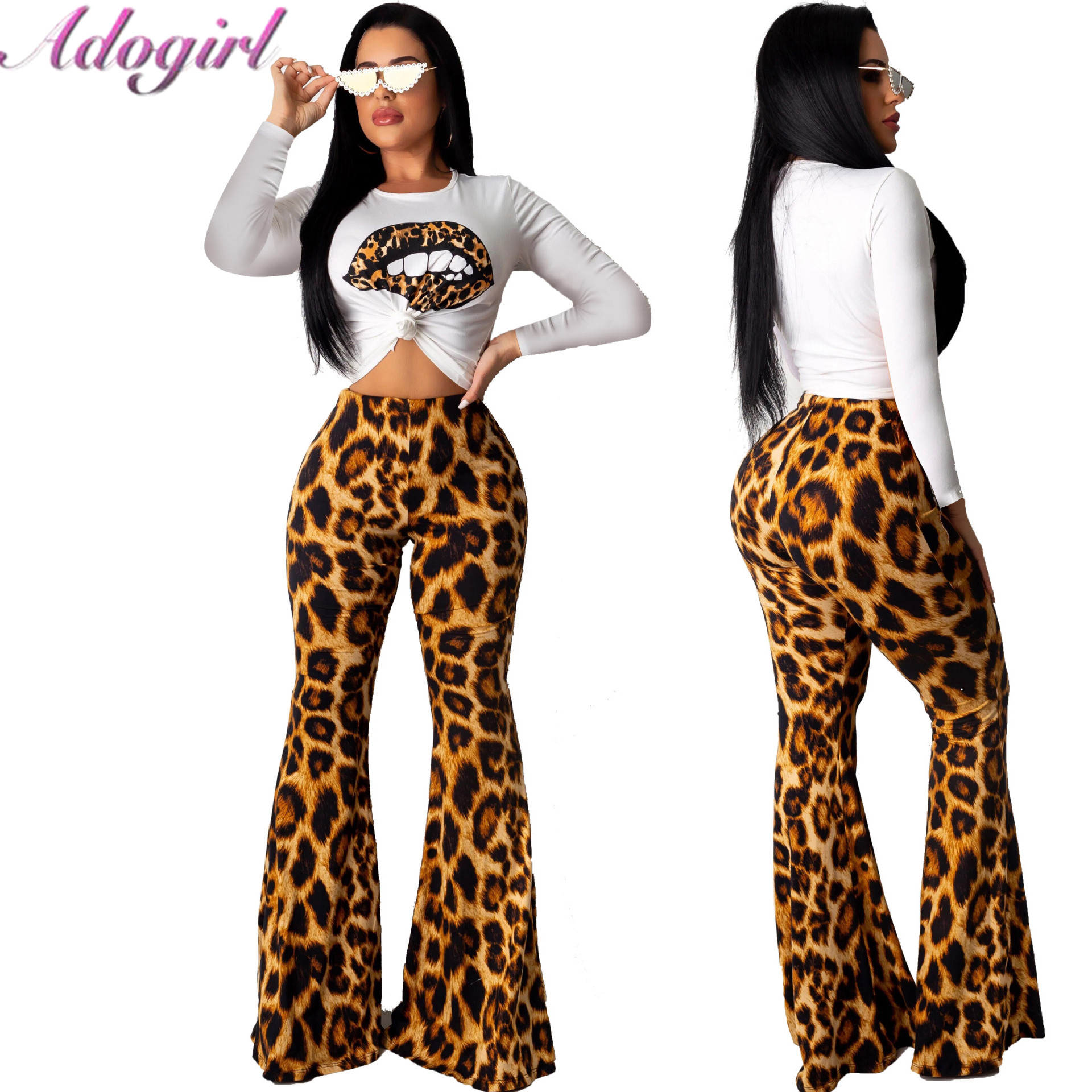 Adogirl Leopard Print Two Piece Set Women Casual Long Sleeve T-Shirt Crop Top + High Waist Flare Pants Suit Female Outfit Suits