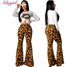 купить Adogirl Leopard Print Two Piece Set Women Casual Long Sleeve T-Shirt Crop Top + High Waist Flare Pants Suit Female Outfit Suits дешево