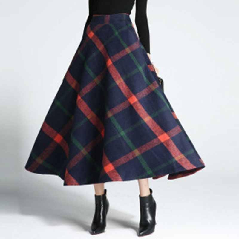 秋冬厚手暖かいウールロングスカートハイウエストスカートロング段落レトロ格子ワードスカート冬スカート