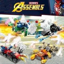 8pcs Super Heroes Spider Man Molten Battle Building Blocks Bricks Boy Toys B597