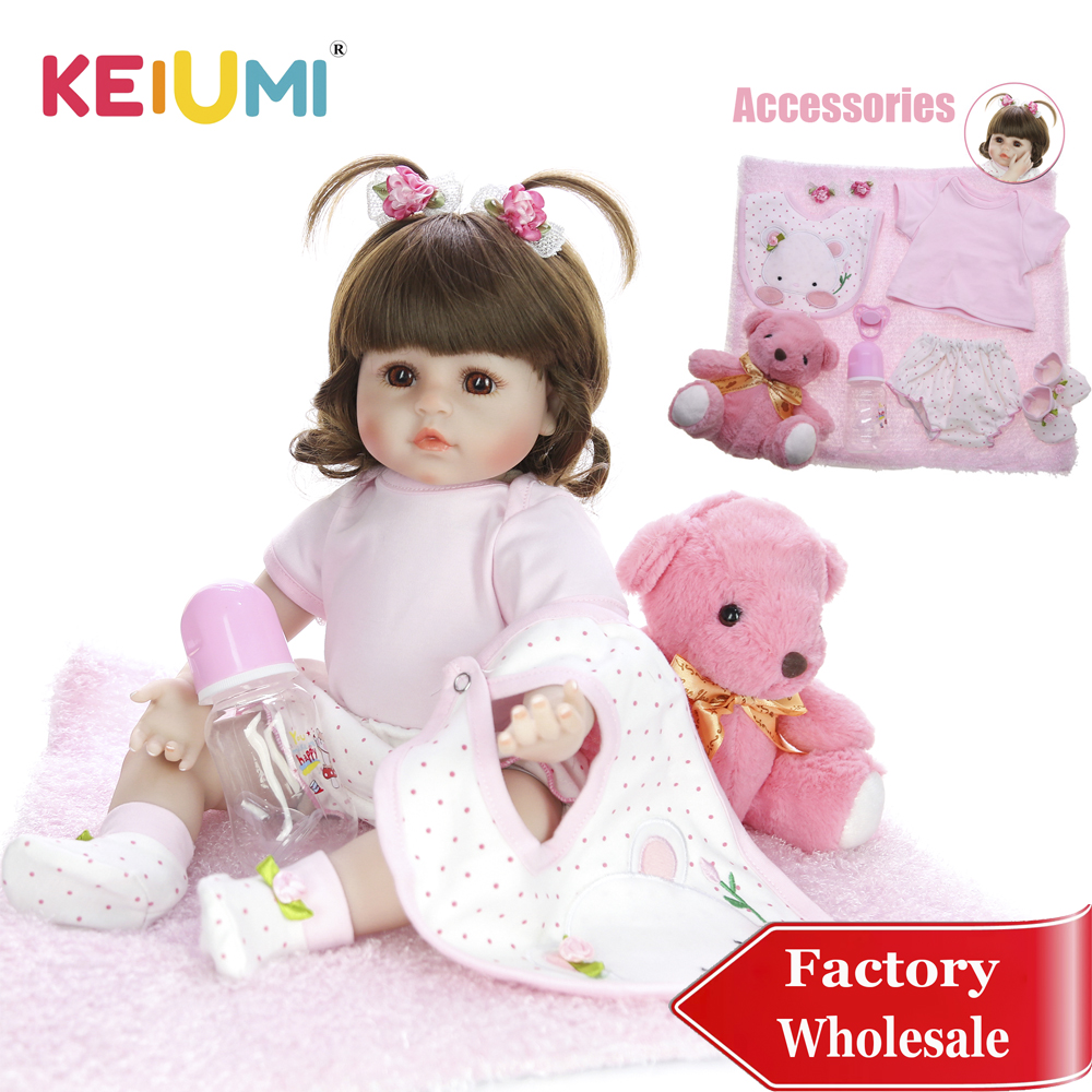 KEIUMI 18 Reborn Baby Girl Adorable Soft Silicone Reborn Baby Dolls Birthday Gifts Fashion Stuffed Doll