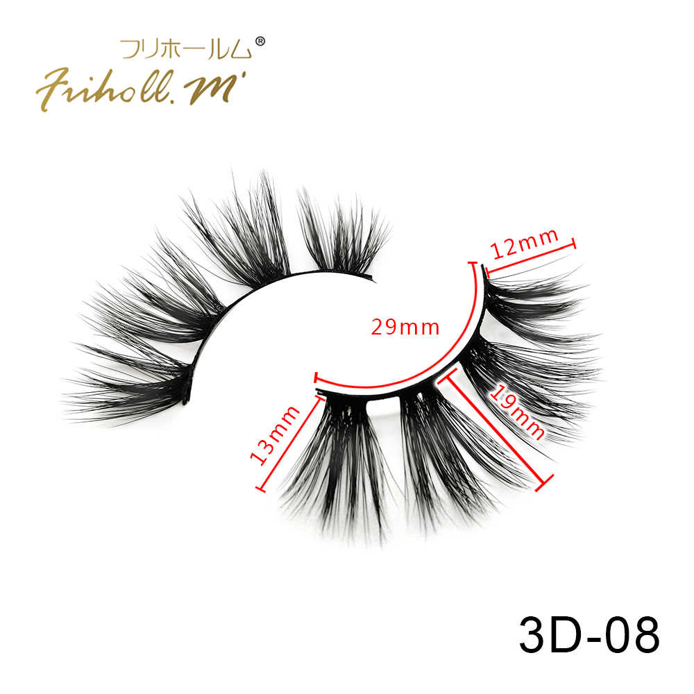 Friholl.m Lashes 6 Pairs 5d Faux mink eyelashes Makeup Beauty 8-25mm Synthetic Silk False Eyelashes Custom Package Private Label