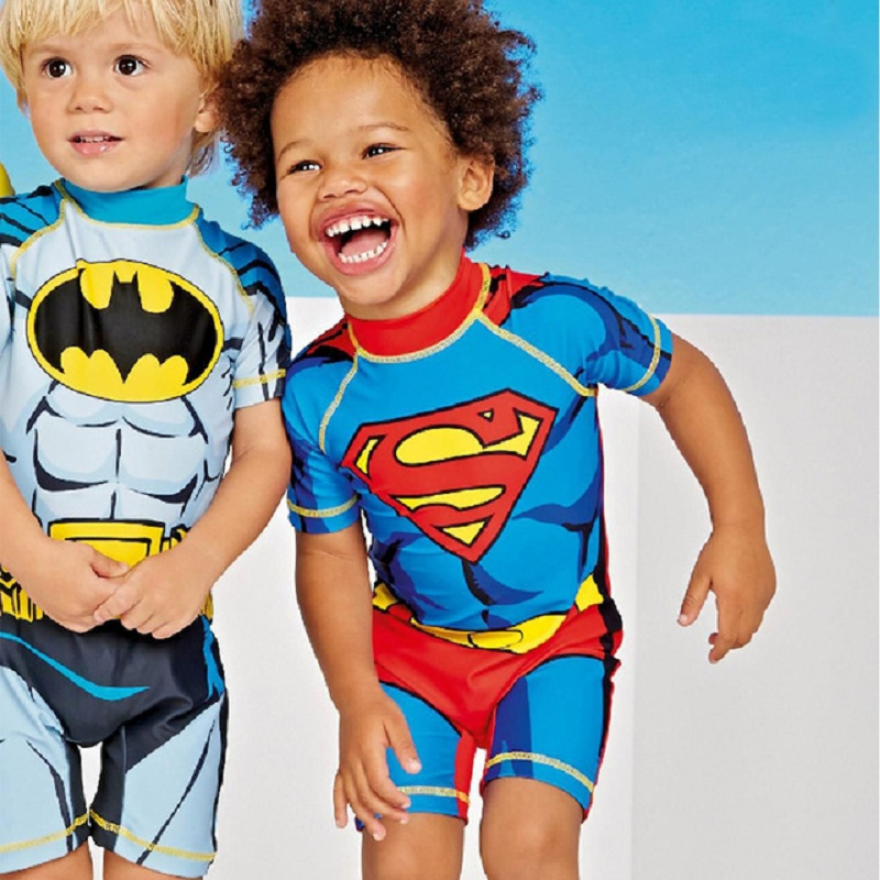 Boy Swimsuits Children Cartoon Print Boys One-piece Swimming Suits With Caps For Baby Kids Boys Pattern Print Swimwear