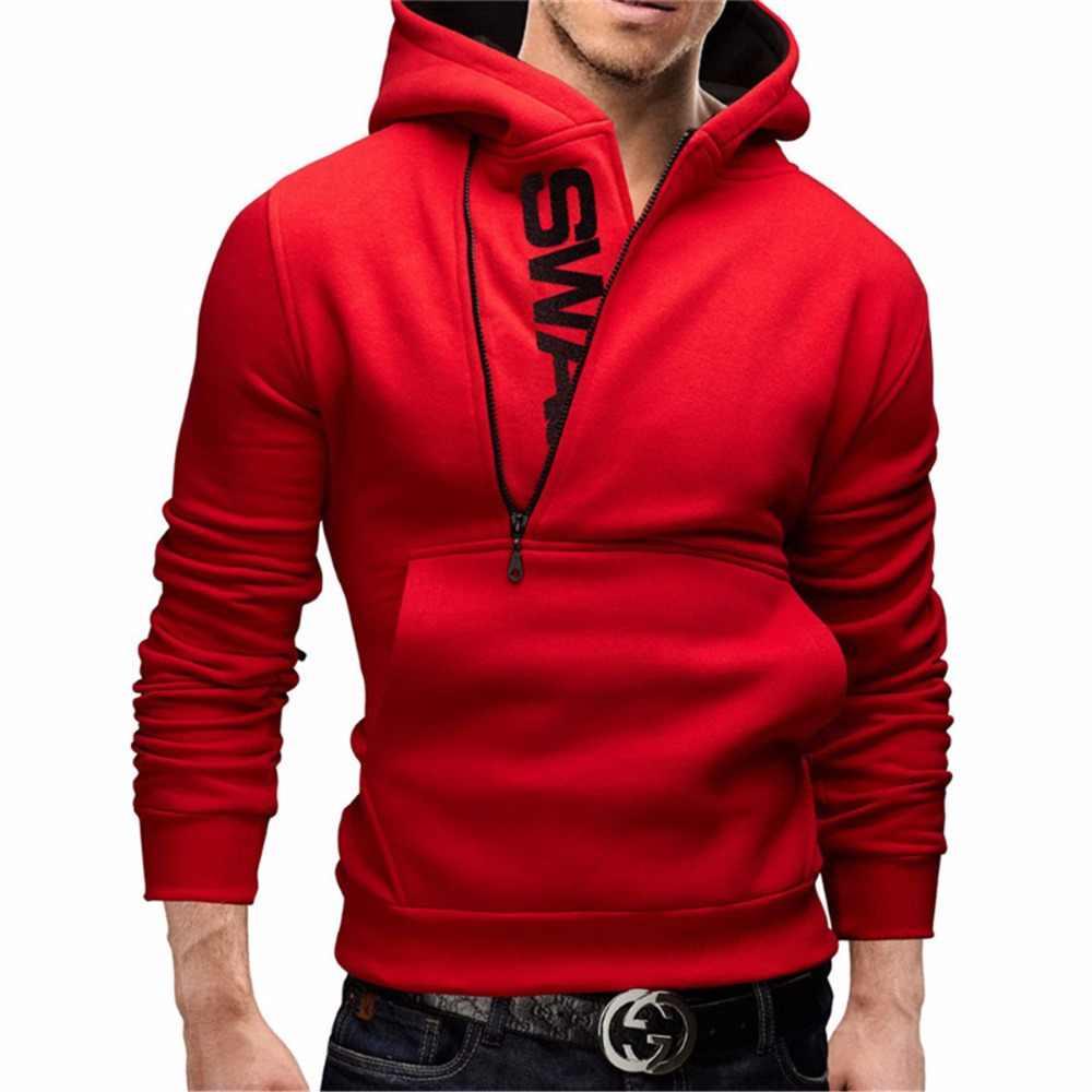 2019 Baru Fashion Pria Hoodies Slim Fit Kasual Sweatshirt Hitam Streetwear Musim Gugur Musim Dingin Hoodie Zipper Sweater Lengan Panjang