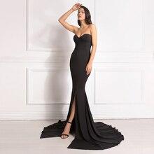 Seksowna bez ramiączek długa czarna sukienka Maxi przednia szczelina nagie ramię czerwona damska wieczorowa letnia sukienka koszula nocna sukienka