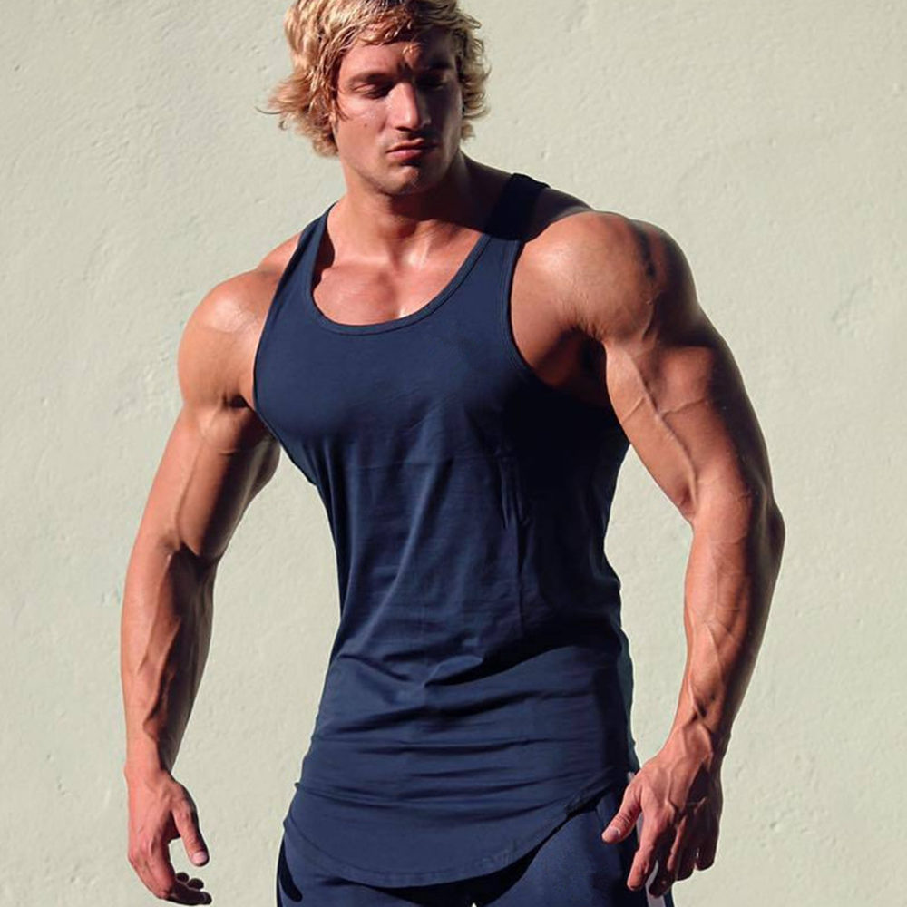 Gym Sport Tank Top Men Fitness Bodybuilding Workout Cotton Sleeveless Shirt Male Summer Casual Stringer Singlet Solid Vest Tops