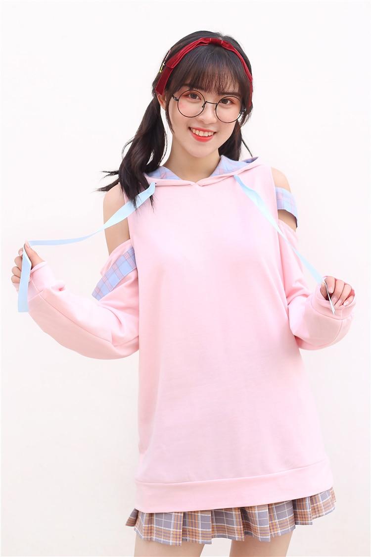 fora do ombro xadrez feminino rosa camisolas