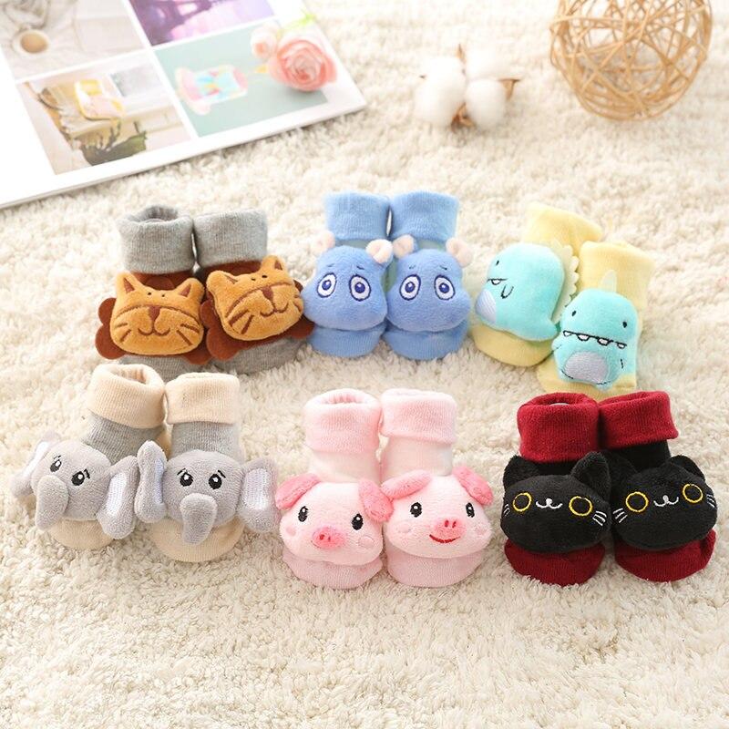 Baby Socks Floor Non-Slip Cotton Plush Cartoon Doll Socks With Bells Baby Girls Boys Ankle Socks Soft Cute Boots Winter Sokken