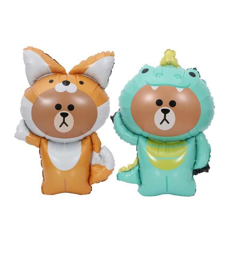 1 Pc Cute Miskin Teddy Bear Mainan Anak-anak Dekorasi Foil Balon Ulang Tahun Pesta Balon Udara Kartun Hewan Peliharaan bayi Mandi Hadiah