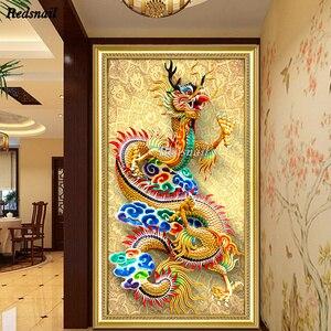 Большой китайский дракон 5D DIY мозаика, полный квадратный Круглый сверлильный станок, алмазная живопись, вышивка крестом, 5D, настенная живопи...