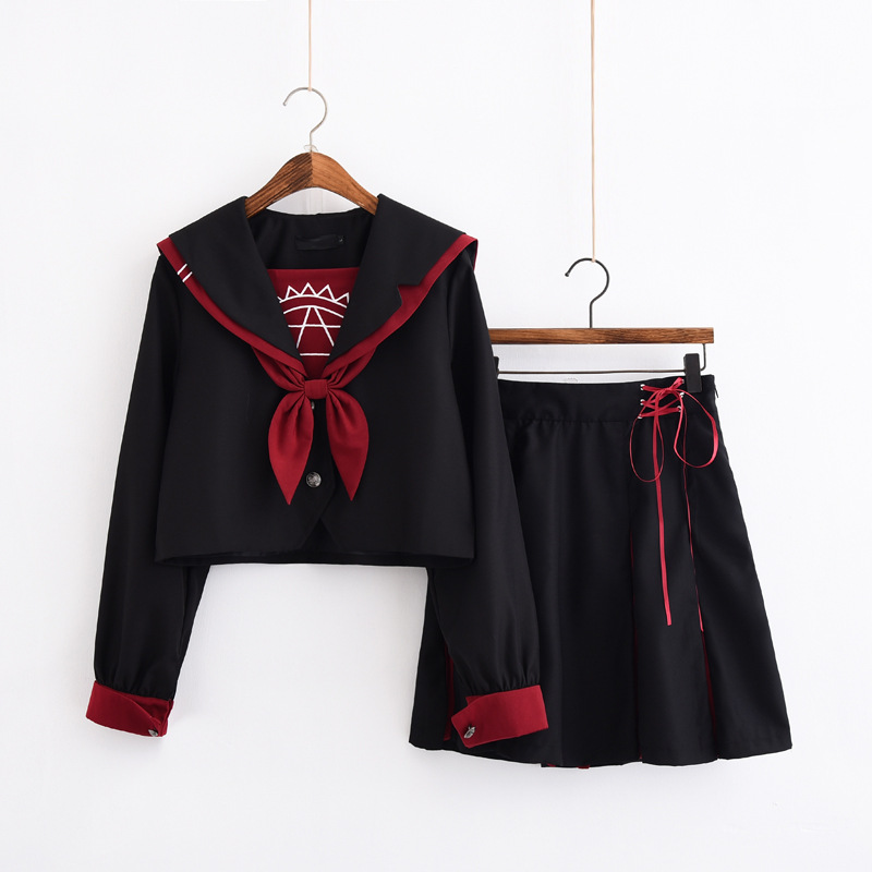 Jk School Uniform Orthodox College Wind Black Long-sleeved Female Cos Pleated Skirt Japanese Sailor Suit Student Novelty Uniform
