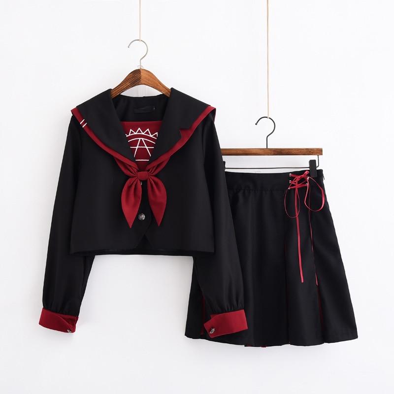 Jk School Uniform Orthodox College Wind Black Long-sleeved Female Cos Pleated Skirt Japanese Sailor Suit Student Novelty Uniform