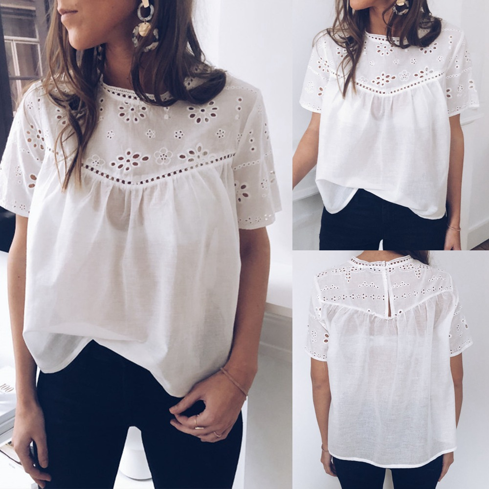 Korean Ladies Fashion Clothing Short Sleeve Womens Tops and   Blouses   Summer White   Blouse   Sexy Hollow Out Floral   Shirt   Streetwear