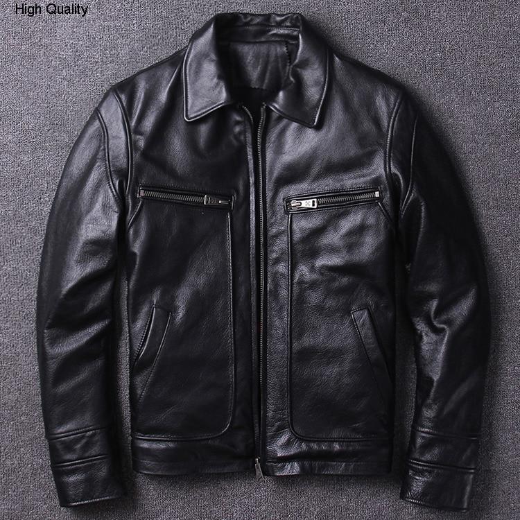 Amekaji Retro Vintage Men's Cowhide Genuine Leather Jacket Locomotive Clothing Lapel Slim Fit Short Classic Autumn Winter Coat