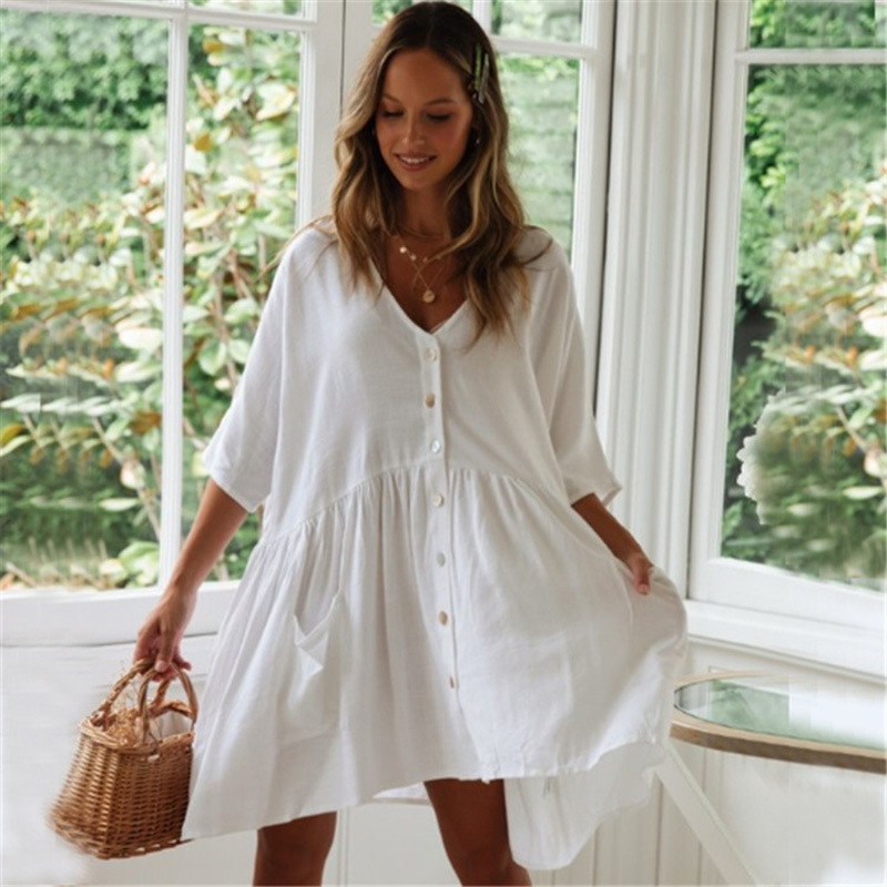 Europe And America New Style Cotton Bamboo Joint Loose And Plus-sized Coat Beach Jacket Cardigan Bikini Outer Blouse Women's