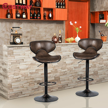 Set of 2 Adjustable Bar Stools Counter Height Chairs Unique Hot-stamping Cloth Seat Bar Chair 1