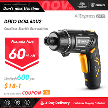 DEKO DCS3.6DU2 S1 Cordless Electric Screwdriver Rechargeable Power Screwdriver Household DIY Twistable Handle Wireless LEDTorch