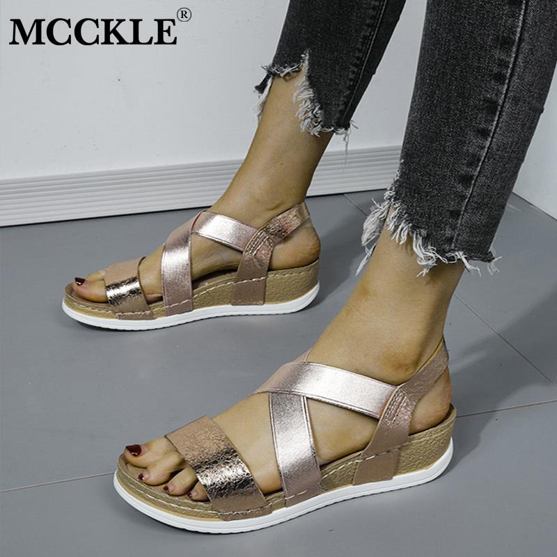 MCCKLE 2020 Summer Women's Sandals Elastic PU Casual Gold Bling Shoes Women Platform Wedges Sandalias Ladies Female Plus Size